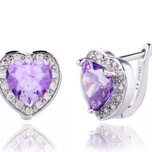 Dazzling Purple Amethyst Diamond 18ktGf Earrings
